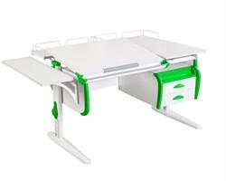 Парта ДЭМИ СУТ-25-05 WHITE DOUBLE с раздельной столешницей, подвесной тумбой, боковой и двумя задними приставками (Цвет столешницы:Белый, Цвет боковин:Зеленый, Цвет ножек стола:Белый) - фото 22091