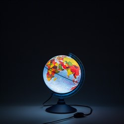 Глобус Земли физико-политический 210 мм с подсветкой Globen Классик Евро (Цвет товара:Синий) - фото 22105