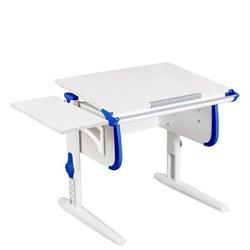 Парта трансформер ДЭМИ WHITE СТАНДАРТ СУТ-24К с боковой приставкой (Цвет столешницы:Белый, Цвет боковин:Синий, Цвет ножек стола:Белый) - фото 22300