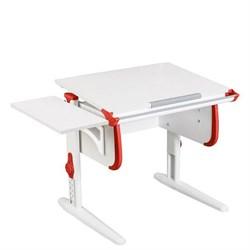 Парта трансформер ДЭМИ WHITE СТАНДАРТ СУТ-24К с боковой приставкой (Цвет столешницы:Белый, Цвет боковин:Красный, Цвет ножек стола:Белый) - фото 22305