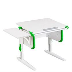 Парта трансформер ДЭМИ WHITE СТАНДАРТ СУТ-24К с боковой приставкой (Цвет столешницы:Белый, Цвет боковин:Зеленый, Цвет ножек стола:Белый) - фото 22317