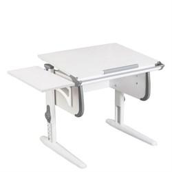 Парта трансформер ДЭМИ WHITE СТАНДАРТ СУТ-24К с боковой приставкой (Цвет столешницы:Белый, Цвет боковин:Серый, Цвет ножек стола:Белый) - фото 22323
