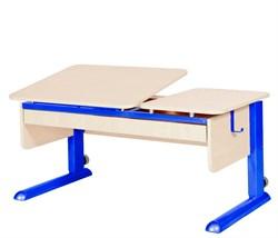Парта для дома Астек ТВИН-2 с органайзером (Цвет столешницы:Береза, Цвет ножек стола:Синий) - фото 22341