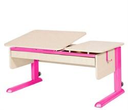 Парта для дома Астек ТВИН-2 с органайзером (Цвет столешницы:Береза, Цвет ножек стола:Розовый) - фото 22380