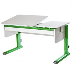 Парта для дома Астек ТВИН-2 с органайзером (Цвет столешницы:Белый, Цвет ножек стола:Зеленый) - фото 22432
