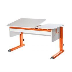 Парта для дома Астек ТВИН-2 с органайзером (Цвет столешницы:Белый, Цвет ножек стола:Оранжевый) - фото 22445