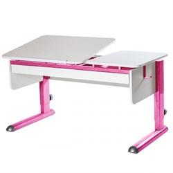 Парта для дома Астек ТВИН-2 с органайзером (Цвет столешницы:Белый, Цвет ножек стола:Розовый) - фото 22458