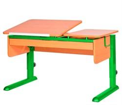 Парта для дома Астек ТВИН-2 с органайзером (Цвет столешницы:Бук, Цвет ножек стола:Зеленый) - фото 22510