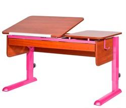 Парта для дома Астек ТВИН-2 с органайзером (Цвет столешницы:Яблоня, Цвет ножек стола:Розовый) - фото 22601