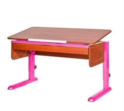 Парта для школьника для дома Астек МОНО-2 с органайзером (Цвет столешницы:Яблоня, Цвет ножек стола:Розовый) - фото 22706
