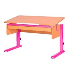 Парта для школьника для дома Астек МОНО-2 с органайзером (Цвет столешницы:Бук, Цвет ножек стола:Розовый) - фото 22716