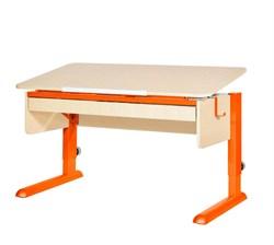 Парта для школьника для дома Астек МОНО-2 с органайзером (Цвет столешницы:Береза, Цвет ножек стола:Оранжевый) - фото 22736