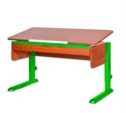 Парта для школьника для дома Астек МОНО-2 с органайзером (Цвет столешницы:Яблоня, Цвет ножек стола:Зеленый) - фото 22746