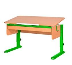 Парта для школьника для дома Астек МОНО-2 с органайзером (Цвет столешницы:Бук, Цвет ножек стола:Зеленый) - фото 22756