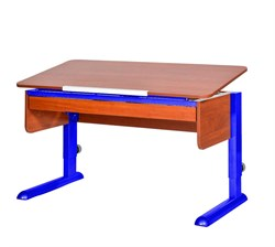 Парта для школьника для дома Астек МОНО-2 с органайзером (Цвет столешницы:Яблоня, Цвет ножек стола:Синий) - фото 22776