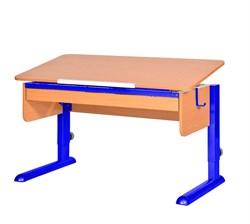Парта для школьника для дома Астек МОНО-2 с органайзером (Цвет столешницы:Бук, Цвет ножек стола:Синий) - фото 22786