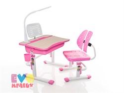 Комплект парта и стульчик Mealux EVO-03 с лампой (Клен, Розовый) - фото 23285
