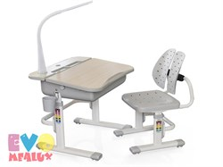 Комплект парта и стульчик Mealux EVO-03 с лампой (Клен, Серый) - фото 23291