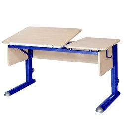 Парта для дома Астек ТВИН-2 (Цвет столешницы:Береза, Цвет боковин:Береза, Цвет ножек стола:Синий) - фото 23306