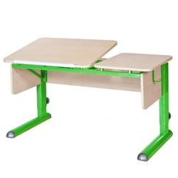 Парта для дома Астек ТВИН-2 (Цвет столешницы:Береза, Цвет боковин:Береза, Цвет ножек стола:Зеленый) - фото 23308
