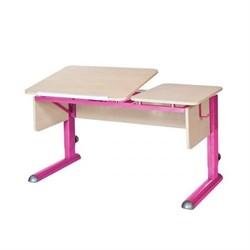 Парта для дома Астек ТВИН-2 (Цвет столешницы:Береза, Цвет боковин:Береза, Цвет ножек стола:Розовый) - фото 23312