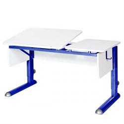 Парта для дома Астек ТВИН-2 (Цвет столешницы:Белый, Цвет боковин:Белый, Цвет ножек стола:Синий) - фото 23318