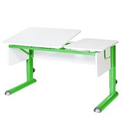 Парта для дома Астек ТВИН-2 (Цвет столешницы:Белый, Цвет боковин:Белый, Цвет ножек стола:Зеленый) - фото 23320