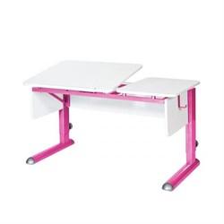 Парта для дома Астек ТВИН-2 (Цвет столешницы:Белый, Цвет боковин:Белый, Цвет ножек стола:Розовый) - фото 23324