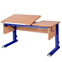 Парта для дома Астек ТВИН-2 (Цвет столешницы:Бук, Цвет боковин:Бук, Цвет ножек стола:Синий) - фото 23330