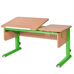 Парта для дома Астек ТВИН-2 (Цвет столешницы:Бук, Цвет боковин:Бук, Цвет ножек стола:Зеленый) - фото 23332