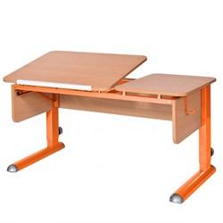 Парта для дома Астек ТВИН-2 (Цвет столешницы:Бук, Цвет боковин:Бук, Цвет ножек стола:Оранжевый) - фото 23334