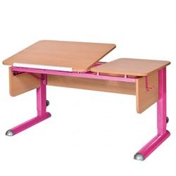 Парта для дома Астек ТВИН-2 (Цвет столешницы:Бук, Цвет боковин:Бук, Цвет ножек стола:Розовый) - фото 23336