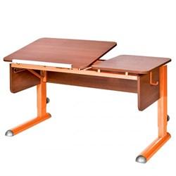 Парта для дома Астек ТВИН-2 (Цвет столешницы:Яблоня, Цвет боковин:Яблоня, Цвет ножек стола:Оранжевый) - фото 23346
