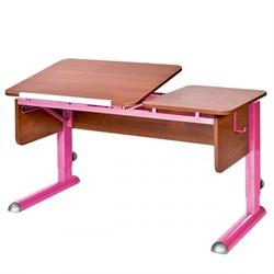 Парта для дома Астек ТВИН-2 (Цвет столешницы:Яблоня, Цвет боковин:Яблоня, Цвет ножек стола:Розовый) - фото 23348