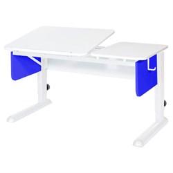 Парта для дома Астек ТВИН-2 (Цвет столешницы:Белый, Цвет боковин:Синий, Цвет ножек стола:Белый) - фото 23352