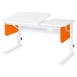 Парта для дома Астек ТВИН-2 (Цвет столешницы:Белый, Цвет боковин:Оранжевый, Цвет ножек стола:Белый) - фото 23354