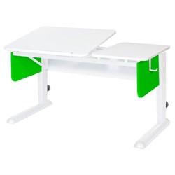 Парта для дома Астек ТВИН-2 (Цвет столешницы:Белый, Цвет боковин:Зеленый, Цвет ножек стола:Белый) - фото 23360