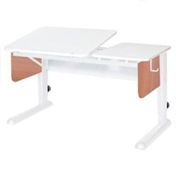 Парта для дома Астек ТВИН-2 (Цвет столешницы:Белый, Цвет боковин:Яблоня, Цвет ножек стола:Белый) - фото 23362