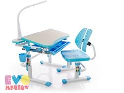 Комплект парта и стульчик Mealux EVO-05 с лампой (Клен, Голубой) - фото 23390