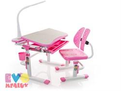 Комплект парта и стульчик Mealux EVO-05 с лампой (Клен, Розовый) - фото 23398