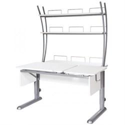 Парта для дома Астек ТВИН-2 с надстройкой (Цвет столешницы:Белый, Цвет ножек стола:Серый) - фото 23412