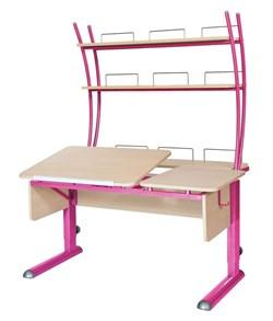 Парта для дома Астек ТВИН-2 с надстройкой (Цвет столешницы:Береза, Цвет ножек стола:Розовый) - фото 23427