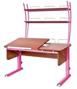 Парта для дома Астек ТВИН-2 с надстройкой (Цвет столешницы:Яблоня, Цвет ножек стола:Розовый) - фото 23430