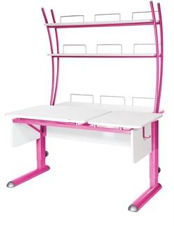 Парта для дома Астек ТВИН-2 с надстройкой (Цвет столешницы:Белый, Цвет ножек стола:Розовый) - фото 23433