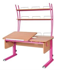 Парта для дома Астек ТВИН-2 с надстройкой (Цвет столешницы:Бук, Цвет ножек стола:Розовый) - фото 23436