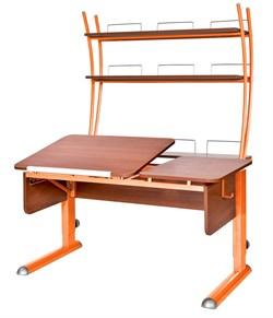Парта для дома Астек ТВИН-2 с надстройкой (Цвет столешницы:Яблоня, Цвет ножек стола:Оранжевый) - фото 23439