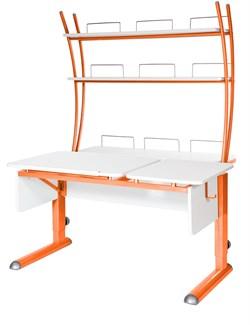 Парта для дома Астек ТВИН-2 с надстройкой (Цвет столешницы:Белый, Цвет ножек стола:Оранжевый) - фото 23442
