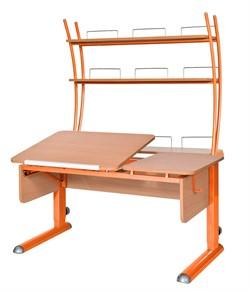 Парта для дома Астек ТВИН-2 с надстройкой (Цвет столешницы:Бук, Цвет ножек стола:Оранжевый) - фото 23445