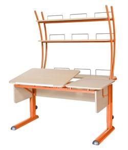 Парта для дома Астек ТВИН-2 с надстройкой (Цвет столешницы:Береза, Цвет ножек стола:Оранжевый) - фото 23448