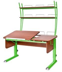 Парта для дома Астек ТВИН-2 с надстройкой (Цвет столешницы:Яблоня, Цвет ножек стола:Зеленый) - фото 23451